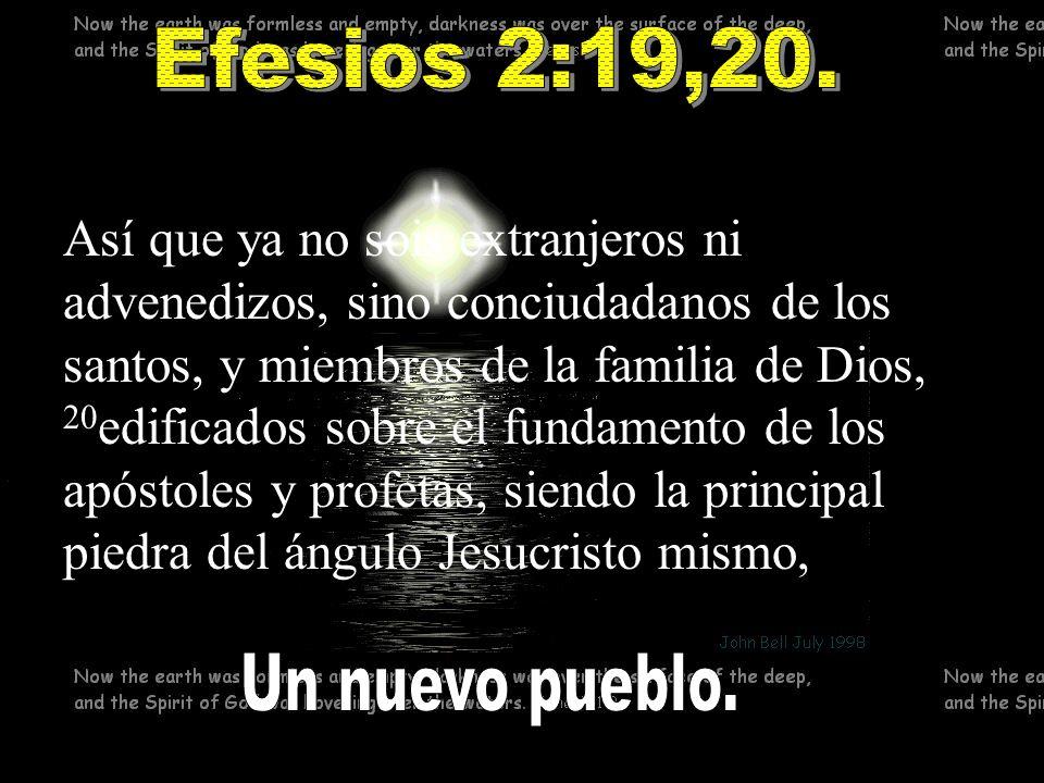Así que ya no sois extranjeros ni advenedizos, sino conciudadanos de los santos, y miembros de la familia de Dios, 20 edificados sobre el fundamento d