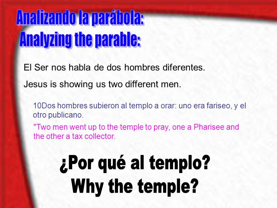 El Ser nos habla de dos hombres diferentes. Jesus is showing us two different men. 10Dos hombres subieron al templo a orar: uno era fariseo, y el otro