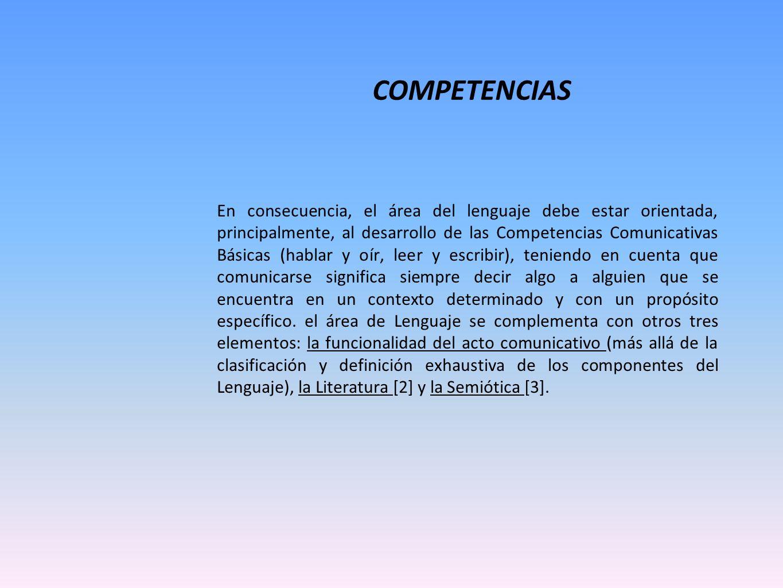 COMPETENCIAS En consecuencia, el área del lenguaje debe estar orientada, principalmente, al desarrollo de las Competencias Comunicativas Básicas (habl
