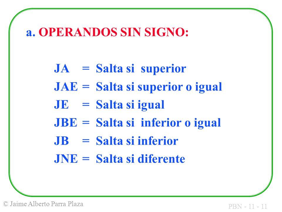 PBN - 11 - 11 © Jaime Alberto Parra Plaza a. OPERANDOS SIN SIGNO: JA= Salta si superior JAE= Salta si superior o igual JE= Salta si igual JBE= Salta s
