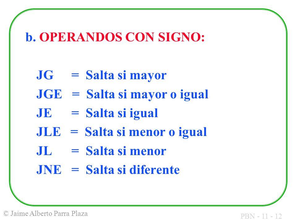 PBN - 11 - 12 © Jaime Alberto Parra Plaza b. OPERANDOS CON SIGNO: JG = Salta si mayor JGE = Salta si mayor o igual JE = Salta si igual JLE = Salta si