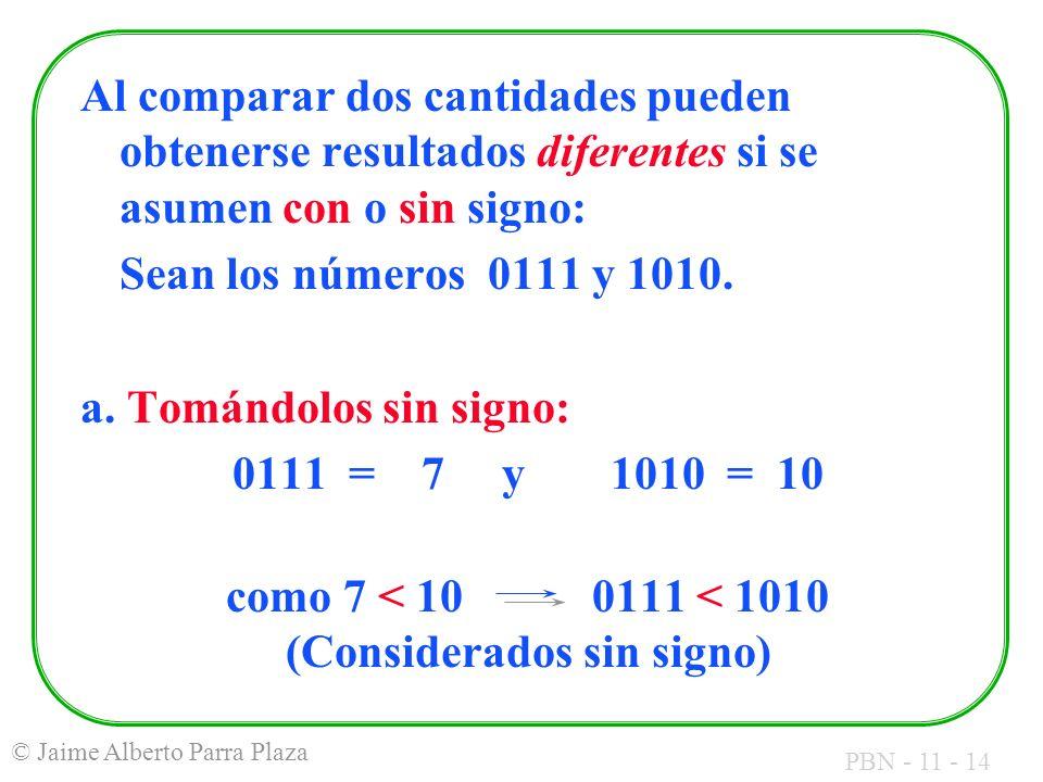 PBN - 11 - 14 © Jaime Alberto Parra Plaza Al comparar dos cantidades pueden obtenerse resultados diferentes si se asumen con o sin signo: Sean los núm