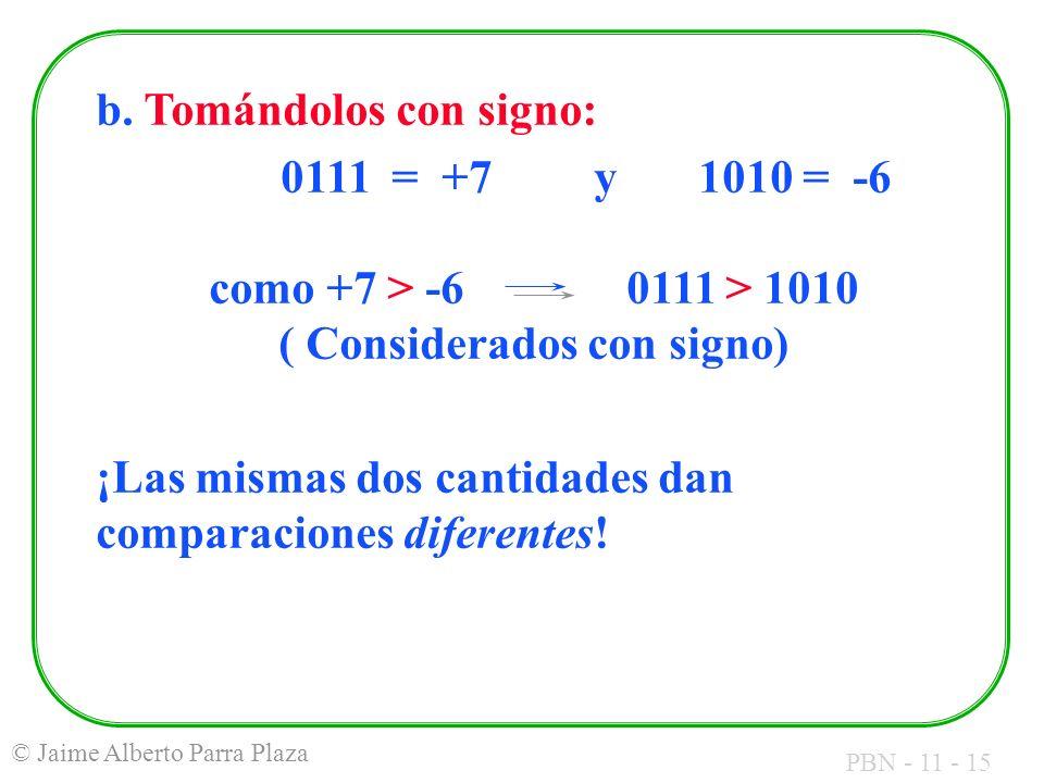 PBN - 11 - 15 © Jaime Alberto Parra Plaza b. Tomándolos con signo: 0111 = +7y1010 = -6 como +7 > -6 0111 > 1010 ( Considerados con signo) ¡Las mismas