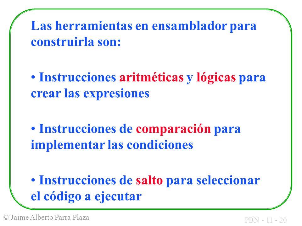 PBN - 11 - 20 © Jaime Alberto Parra Plaza Las herramientas en ensamblador para construirla son: Instrucciones aritméticas y lógicas para crear las exp