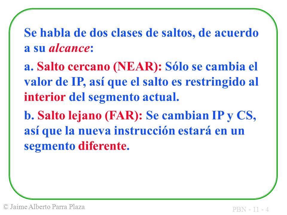 PBN - 11 - 4 © Jaime Alberto Parra Plaza Se habla de dos clases de saltos, de acuerdo a su alcance: a. Salto cercano (NEAR): Sólo se cambia el valor d