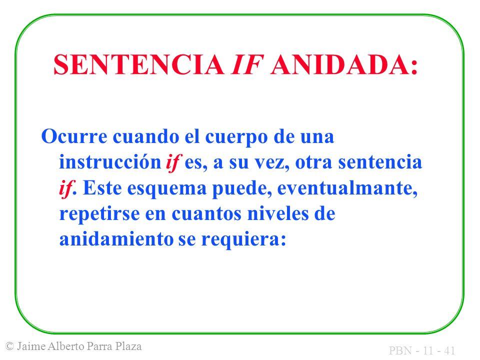 PBN - 11 - 41 © Jaime Alberto Parra Plaza SENTENCIA IF ANIDADA: Ocurre cuando el cuerpo de una instrucción if es, a su vez, otra sentencia if. Este es