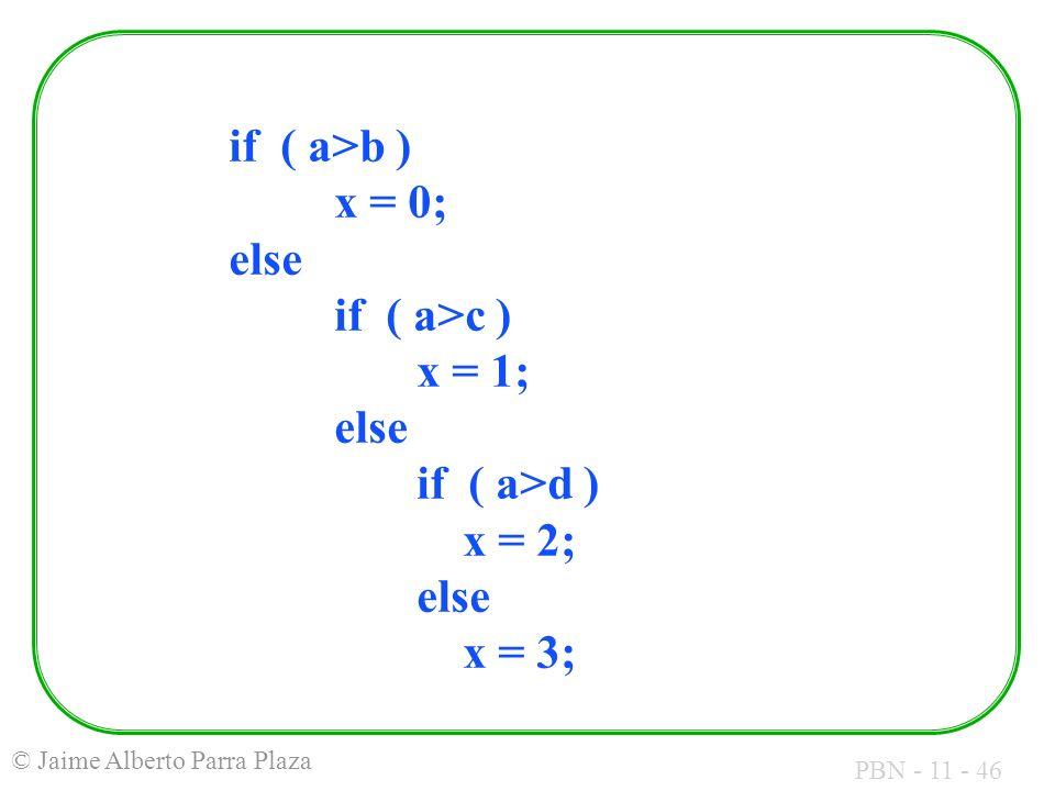 PBN - 11 - 46 © Jaime Alberto Parra Plaza if ( a>b ) x = 0; else if ( a>c ) x = 1; else if ( a>d ) x = 2; else x = 3;