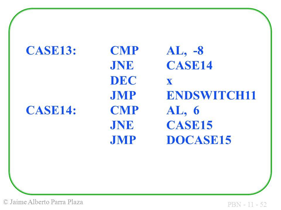 PBN - 11 - 52 © Jaime Alberto Parra Plaza CASE13:CMPAL, -8 JNECASE14 DECx JMPENDSWITCH11 CASE14:CMPAL, 6 JNECASE15 JMPDOCASE15