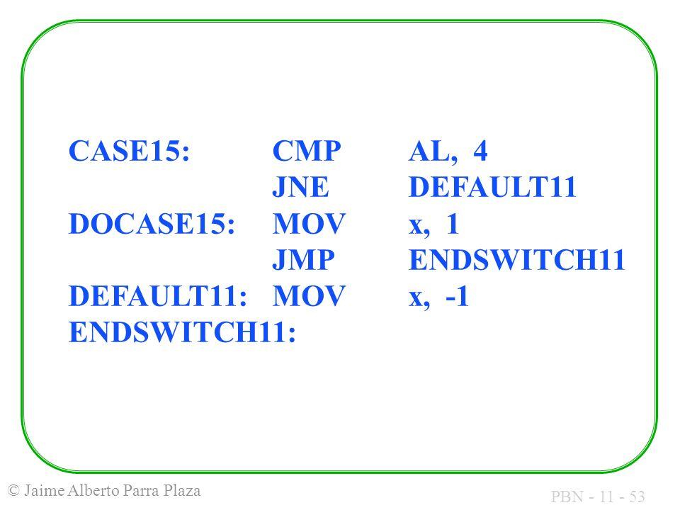 PBN - 11 - 53 © Jaime Alberto Parra Plaza CASE15:CMPAL, 4 JNEDEFAULT11 DOCASE15:MOVx, 1 JMPENDSWITCH11 DEFAULT11:MOVx, -1 ENDSWITCH11: