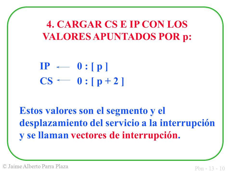 Pbn - 13 - 10 © Jaime Alberto Parra Plaza 4. CARGAR CS E IP CON LOS VALORES APUNTADOS POR p: IP0 : [ p ] CS0 : [ p + 2 ] Estos valores son el segmento