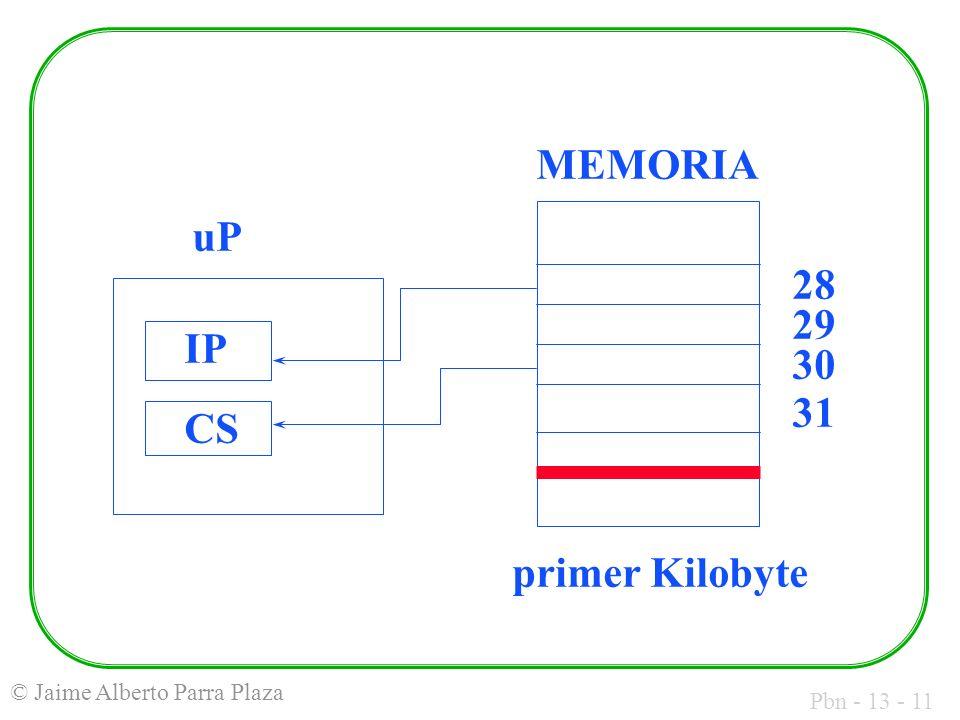Pbn - 13 - 11 © Jaime Alberto Parra Plaza MEMORIA uP IP CS 28 29 30 31 primer Kilobyte