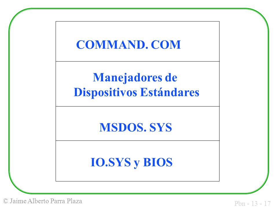 Pbn - 13 - 17 © Jaime Alberto Parra Plaza COMMAND. COM Manejadores de Dispositivos Estándares MSDOS. SYS IO.SYS y BIOS
