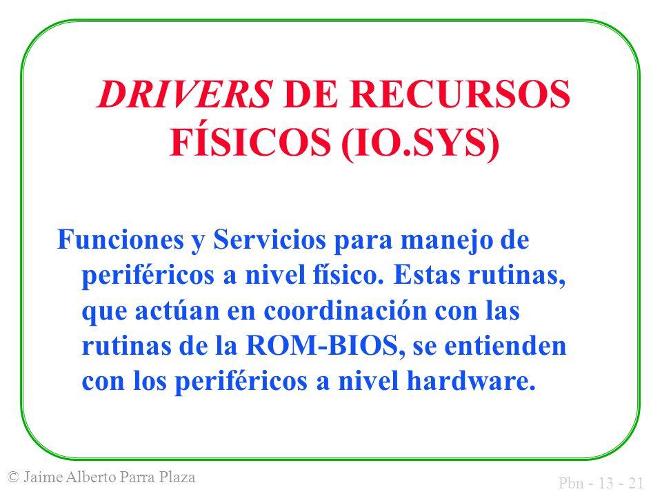Pbn - 13 - 21 © Jaime Alberto Parra Plaza DRIVERS DE RECURSOS FÍSICOS (IO.SYS) Funciones y Servicios para manejo de periféricos a nivel físico. Estas