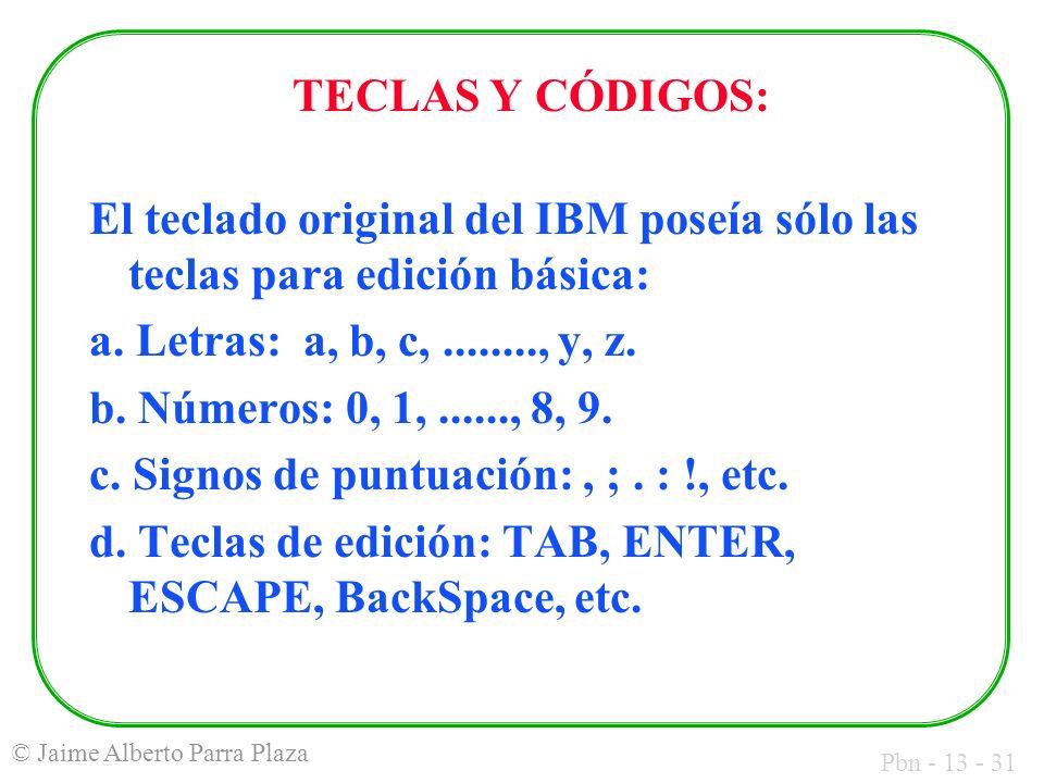 Pbn - 13 - 31 © Jaime Alberto Parra Plaza TECLAS Y CÓDIGOS: El teclado original del IBM poseía sólo las teclas para edición básica: a. Letras: a, b, c