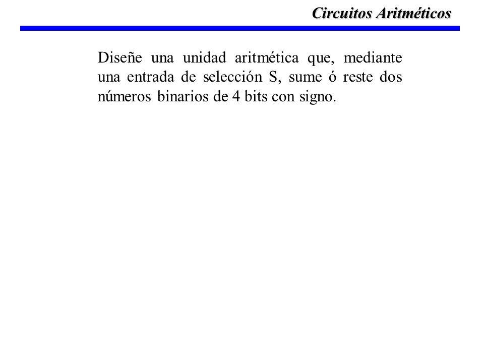 Diseñe una unidad aritmética que, mediante una entrada de selección S, sume ó reste dos números binarios de 4 bits con signo. Circuitos Aritméticos