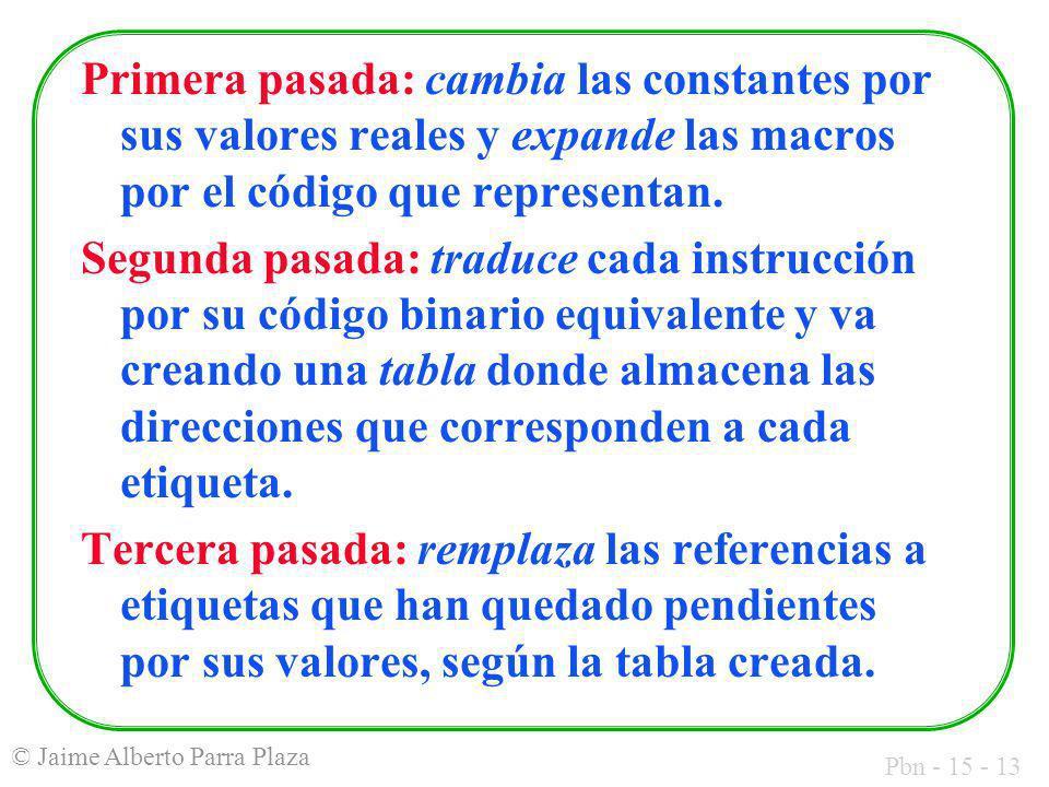 Pbn - 15 - 13 © Jaime Alberto Parra Plaza Primera pasada: cambia las constantes por sus valores reales y expande las macros por el código que represen