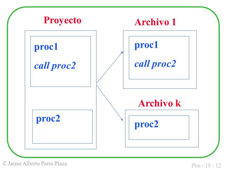 Pbn - 19 - 12 © Jaime Alberto Parra Plaza Proyecto Archivo 1 Archivo k proc1 call proc2 proc2 proc1 call proc2 proc2