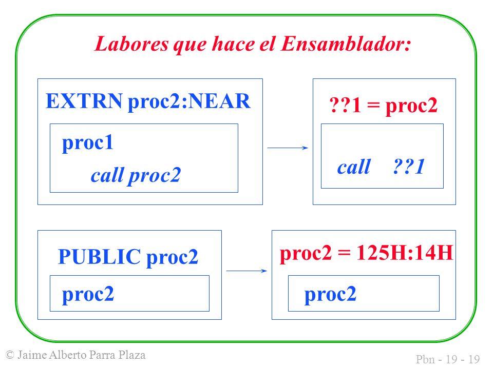 Pbn - 19 - 19 © Jaime Alberto Parra Plaza EXTRN proc2:NEAR proc1 call proc2 call 1 1 = proc2 proc2 PUBLIC proc2 proc2 = 125H:14H proc2 Labores que hace el Ensamblador: