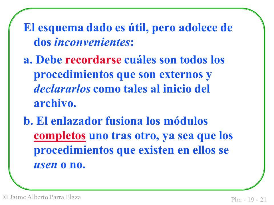 Pbn - 19 - 21 © Jaime Alberto Parra Plaza El esquema dado es útil, pero adolece de dos inconvenientes: a.