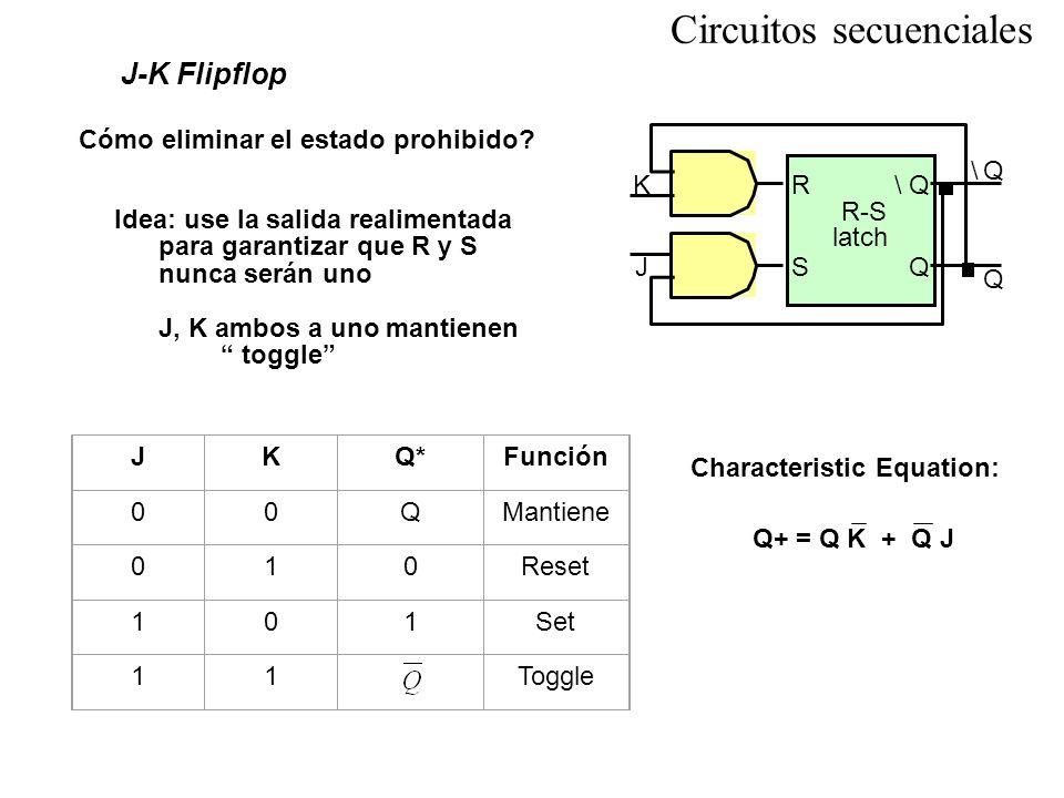 Circuitos secuenciales J-K Flipflop Cómo eliminar el estado prohibido? Idea: use la salida realimentada para garantizar que R y S nunca serán uno J, K