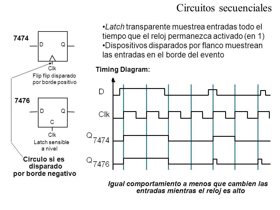 Ecuación característica : Diagrama de estados: D 0 0 0 0 1 1 1 0 0 1 1 1 QQ* DRelojQ* 0 1 X0Q X1Q 0 1 Tabla de transición Tabla de excitación FlipFlop D Circuitos secuenciales