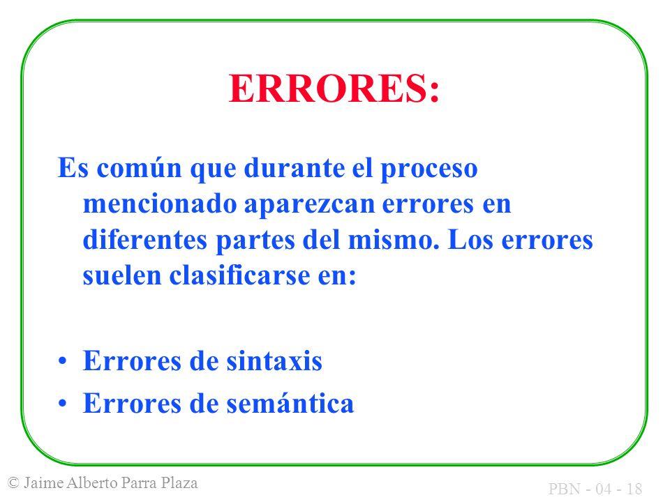 PBN - 04 - 18 © Jaime Alberto Parra Plaza ERRORES: Es común que durante el proceso mencionado aparezcan errores en diferentes partes del mismo. Los er