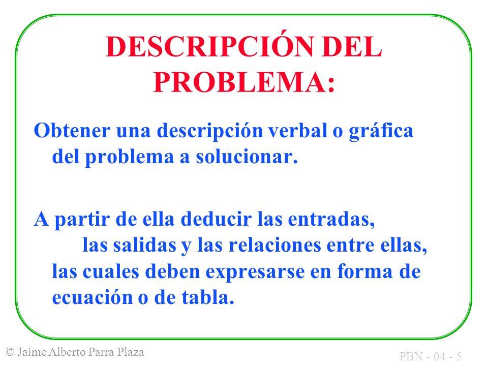 PBN - 04 - 5 © Jaime Alberto Parra Plaza DESCRIPCIÓN DEL PROBLEMA: Obtener una descripción verbal o gráfica del problema a solucionar. A partir de ell