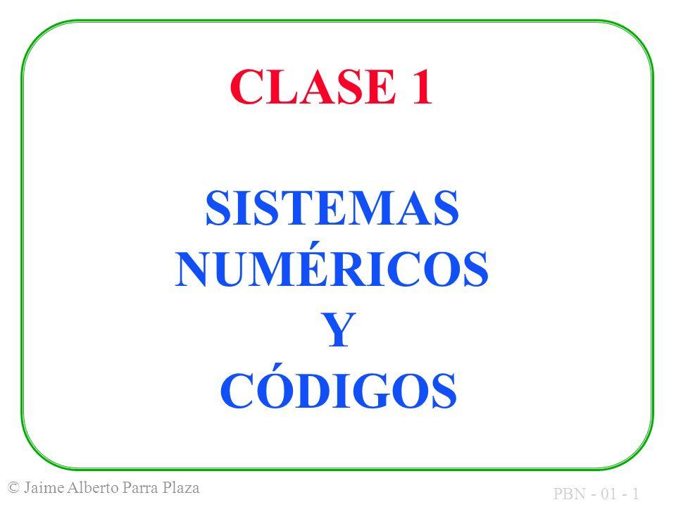 PBN - 01 - 2 © Jaime Alberto Parra Plaza TEMAS DE HOY Sistemas Numéricos Sistema en base 2 (Binario) Sistema en base 16 (Hexadecimal) Conversión entre bases Representación de otra información Códigos