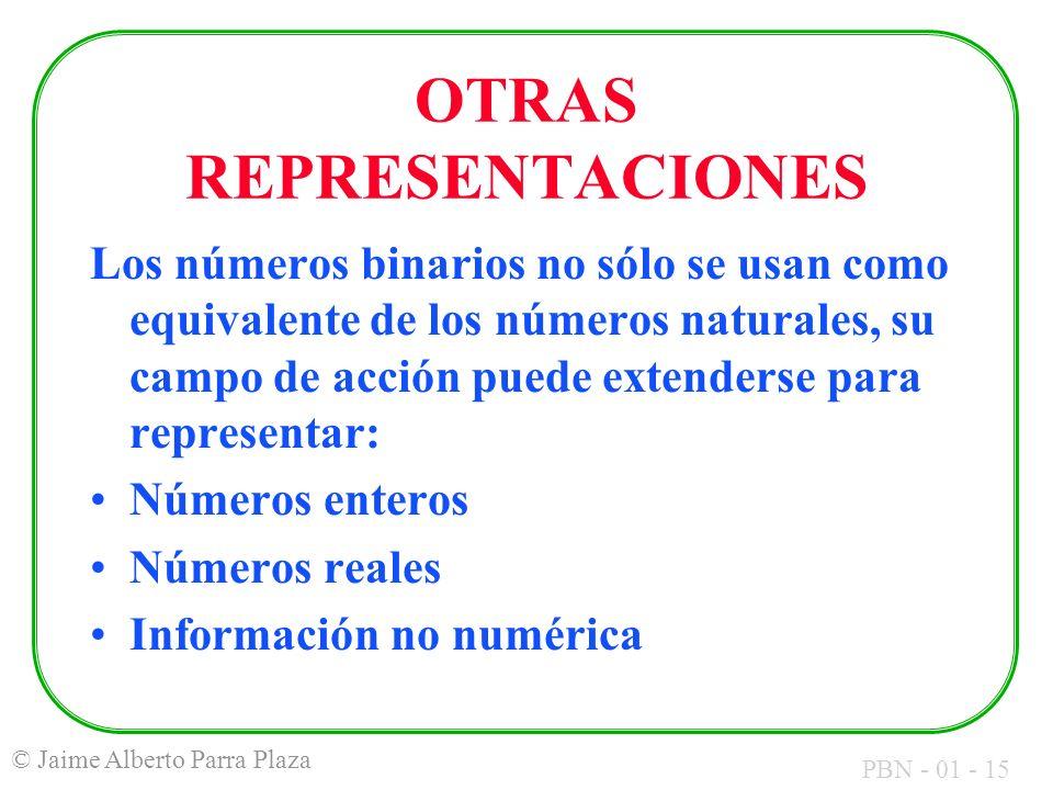 PBN - 01 - 15 © Jaime Alberto Parra Plaza OTRAS REPRESENTACIONES Los números binarios no sólo se usan como equivalente de los números naturales, su ca