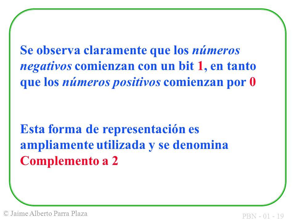 PBN - 01 - 19 © Jaime Alberto Parra Plaza Se observa claramente que los números negativos comienzan con un bit 1, en tanto que los números positivos c