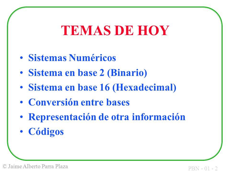 PBN - 01 - 2 © Jaime Alberto Parra Plaza TEMAS DE HOY Sistemas Numéricos Sistema en base 2 (Binario) Sistema en base 16 (Hexadecimal) Conversión entre