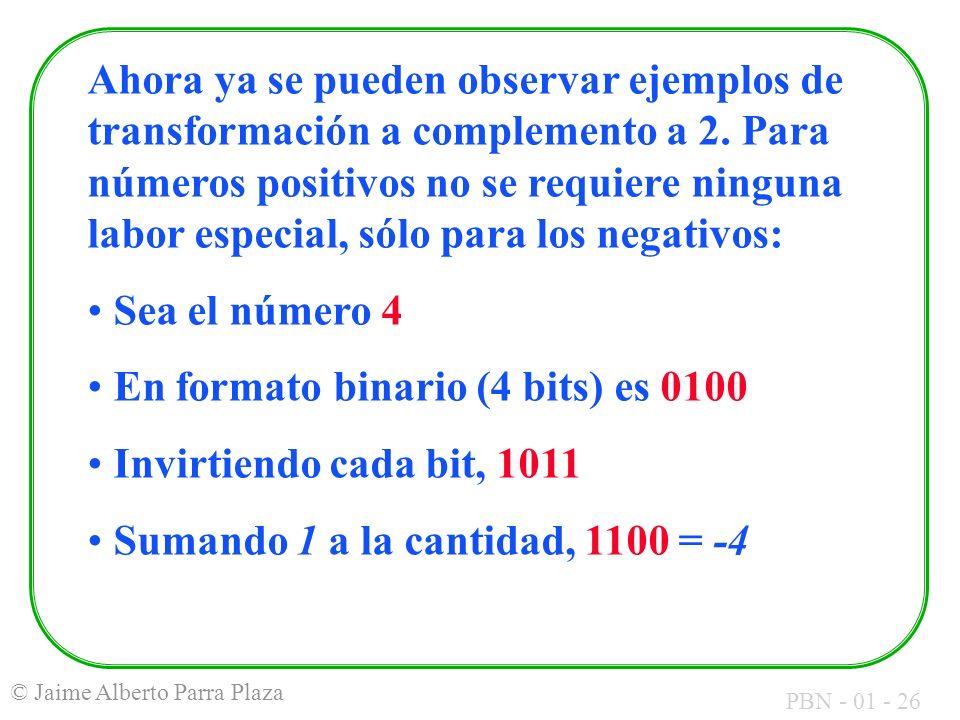 PBN - 01 - 26 © Jaime Alberto Parra Plaza Ahora ya se pueden observar ejemplos de transformación a complemento a 2. Para números positivos no se requi