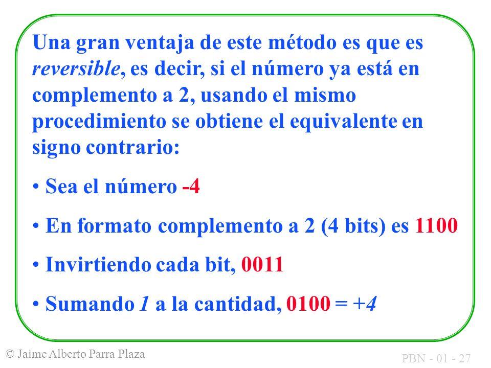 PBN - 01 - 27 © Jaime Alberto Parra Plaza Una gran ventaja de este método es que es reversible, es decir, si el número ya está en complemento a 2, usa