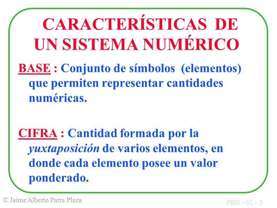 PBN - 01 - 3 © Jaime Alberto Parra Plaza CARACTERÍSTICAS DE UN SISTEMA NUMÉRICO BASE : Conjunto de símbolos (elementos) que permiten representar canti