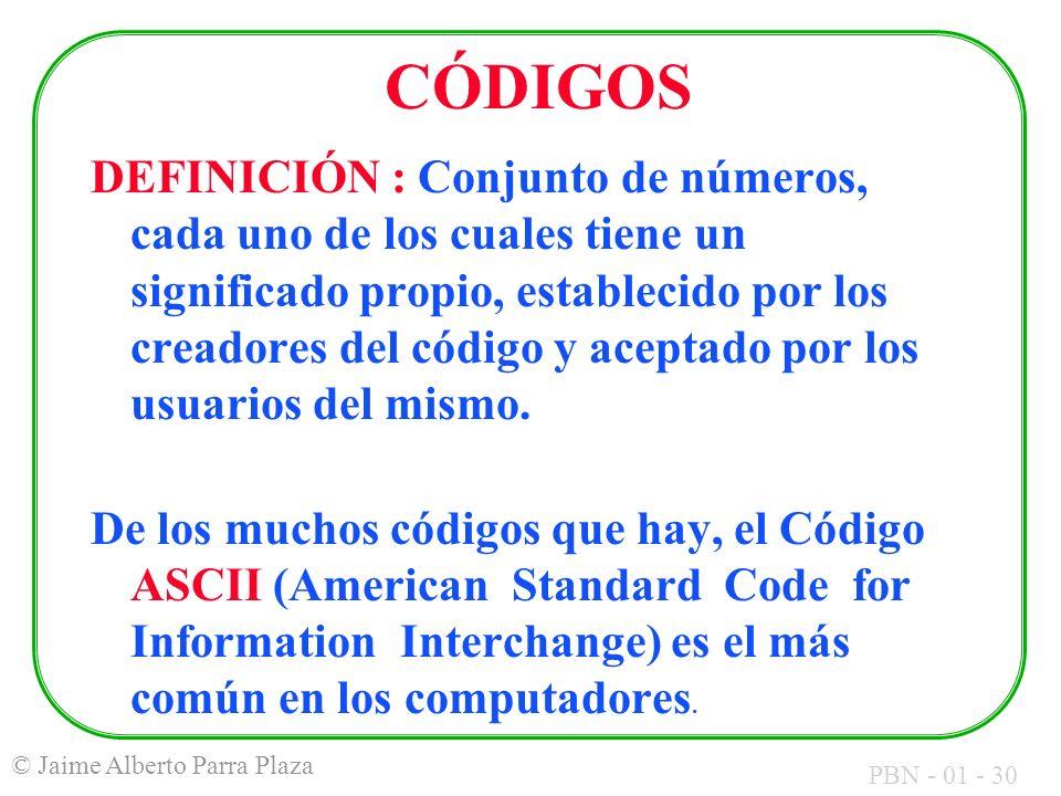 PBN - 01 - 30 © Jaime Alberto Parra Plaza CÓDIGOS DEFINICIÓN : Conjunto de números, cada uno de los cuales tiene un significado propio, establecido po