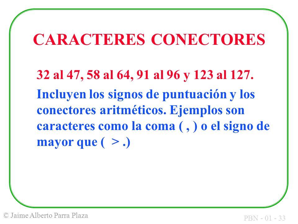 PBN - 01 - 33 © Jaime Alberto Parra Plaza CARACTERES CONECTORES 32 al 47, 58 al 64, 91 al 96 y 123 al 127. Incluyen los signos de puntuación y los con