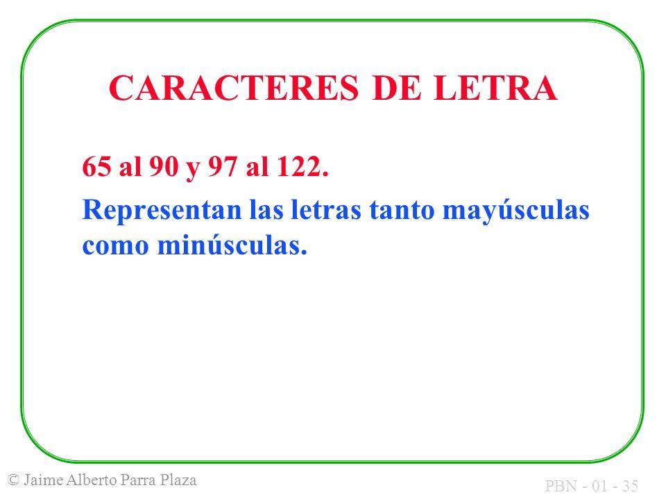 PBN - 01 - 35 © Jaime Alberto Parra Plaza CARACTERES DE LETRA 65 al 90 y 97 al 122. Representan las letras tanto mayúsculas como minúsculas.