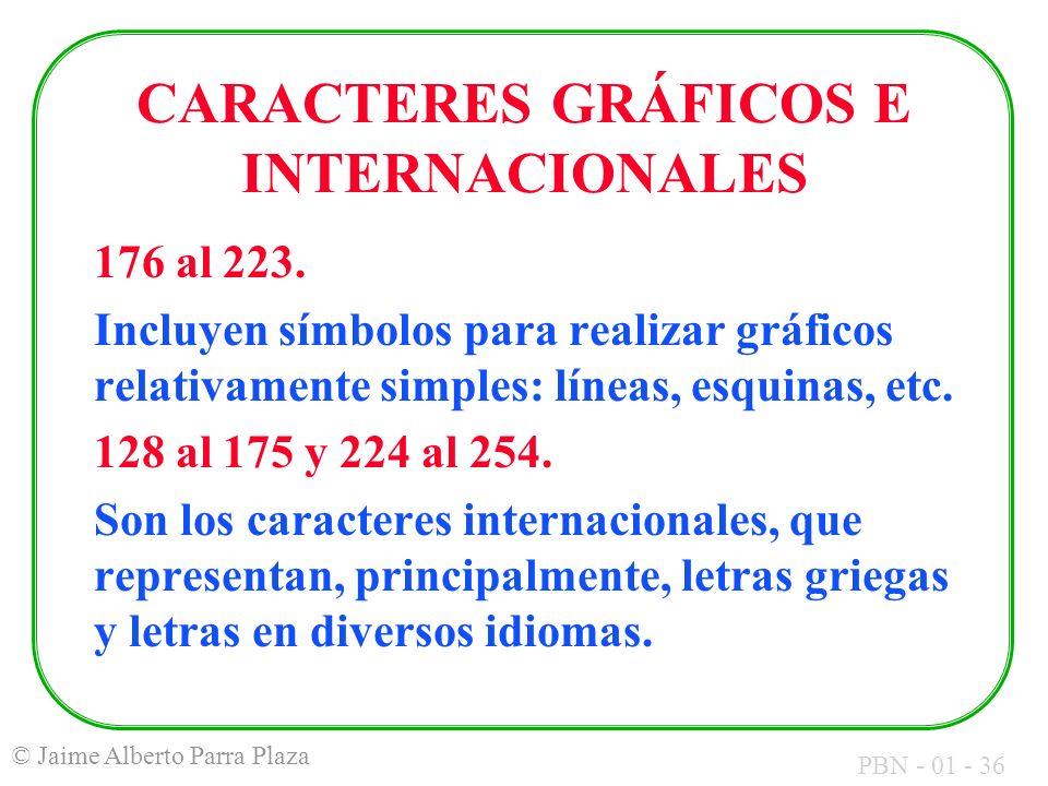 PBN - 01 - 36 © Jaime Alberto Parra Plaza CARACTERES GRÁFICOS E INTERNACIONALES 176 al 223. Incluyen símbolos para realizar gráficos relativamente sim