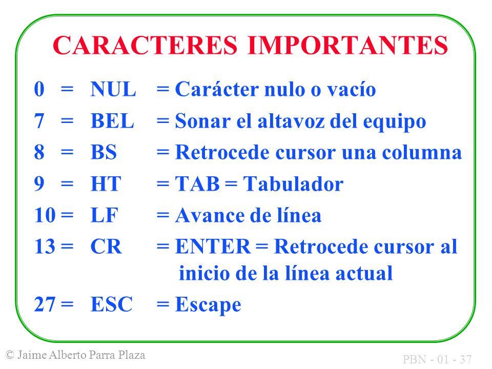 PBN - 01 - 37 © Jaime Alberto Parra Plaza CARACTERES IMPORTANTES 0 = NUL = Carácter nulo o vacío 7 = BEL = Sonar el altavoz del equipo 8 = BS = Retroc