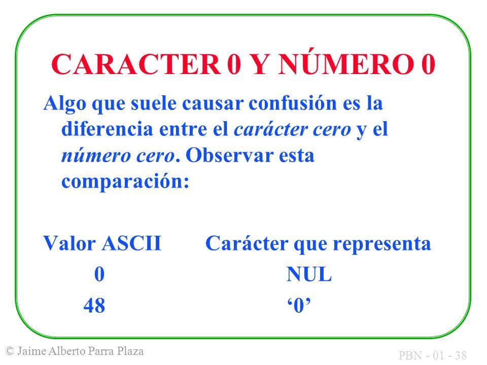 PBN - 01 - 38 © Jaime Alberto Parra Plaza CARACTER 0 Y NÚMERO 0 Algo que suele causar confusión es la diferencia entre el carácter cero y el número ce