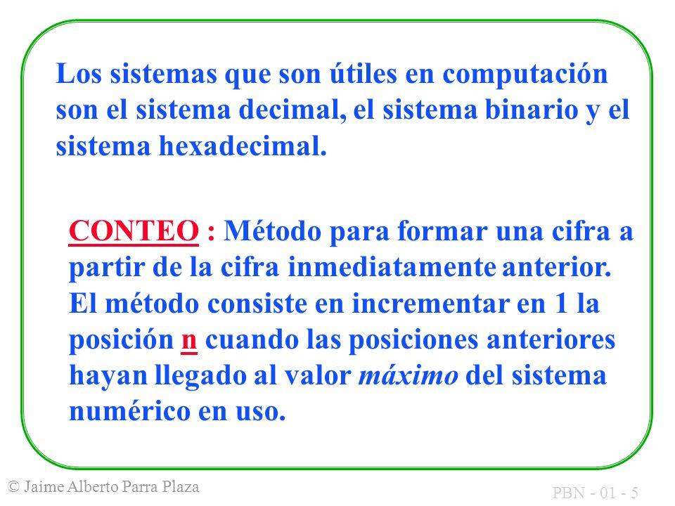 PBN - 01 - 5 © Jaime Alberto Parra Plaza Los sistemas que son útiles en computación son el sistema decimal, el sistema binario y el sistema hexadecima