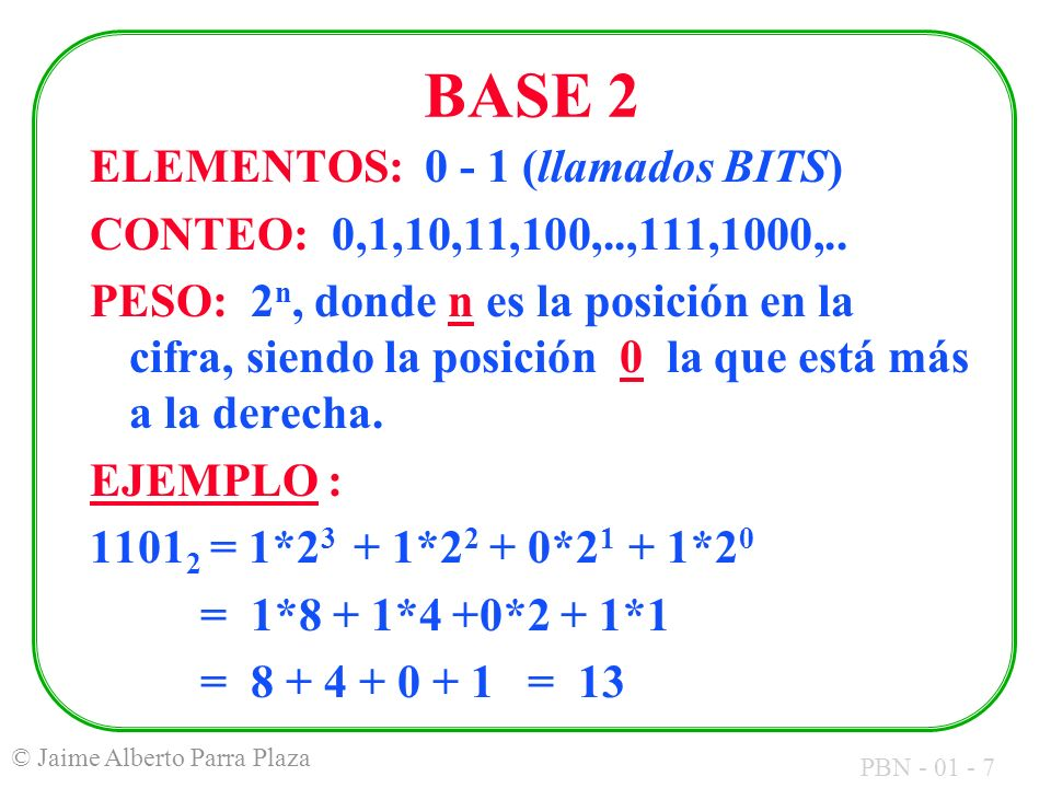PBN - 01 - 7 © Jaime Alberto Parra Plaza BASE 2 ELEMENTOS: 0 - 1 (llamados BITS) CONTEO: 0,1,10,11,100,..,111,1000,.. PESO: 2 n, donde n es la posició