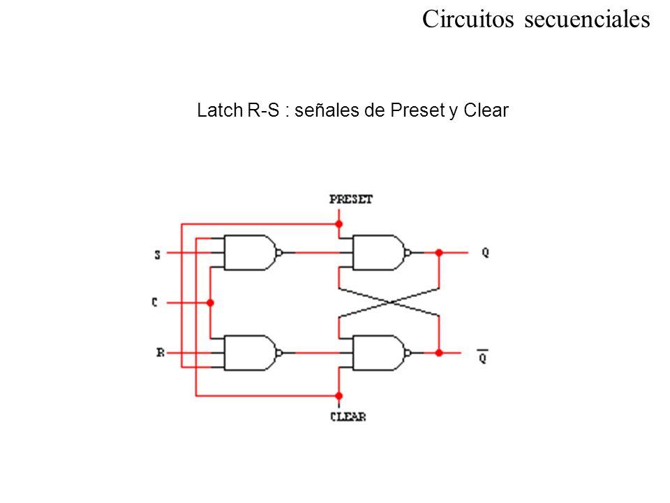 Circuitos secuenciales Latch R-S : señales de Preset y Clear