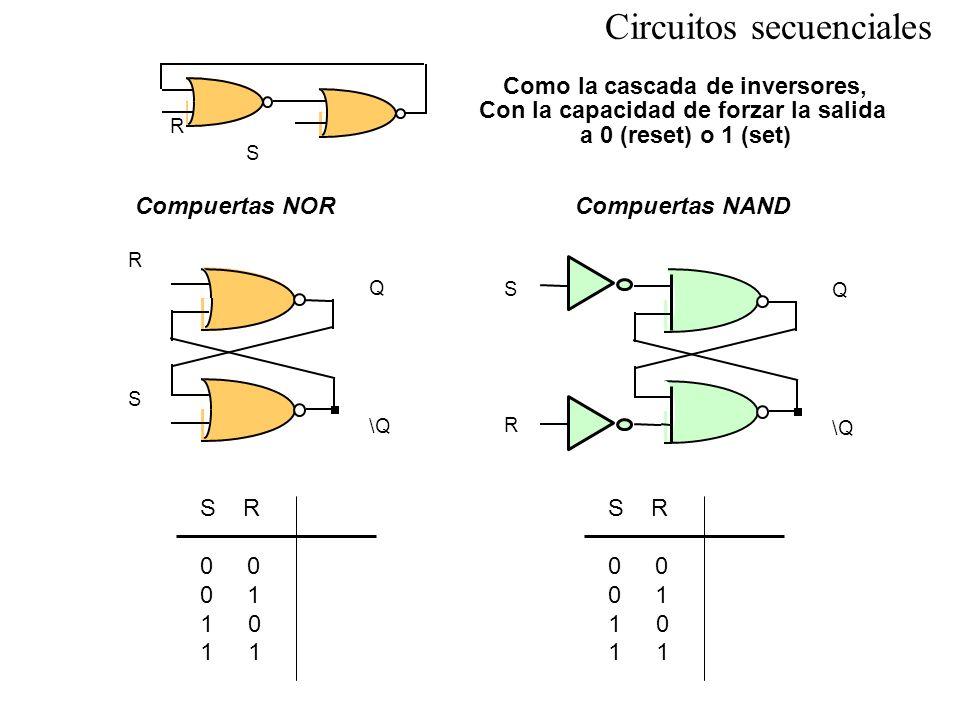 R S Q \Q R S Circuitos secuenciales Compuertas NOR S R 0 0 1 10 1 Compuertas NAND R S Q \Q S R 0 0 1 10 1 Como la cascada de inversores, Con la capaci