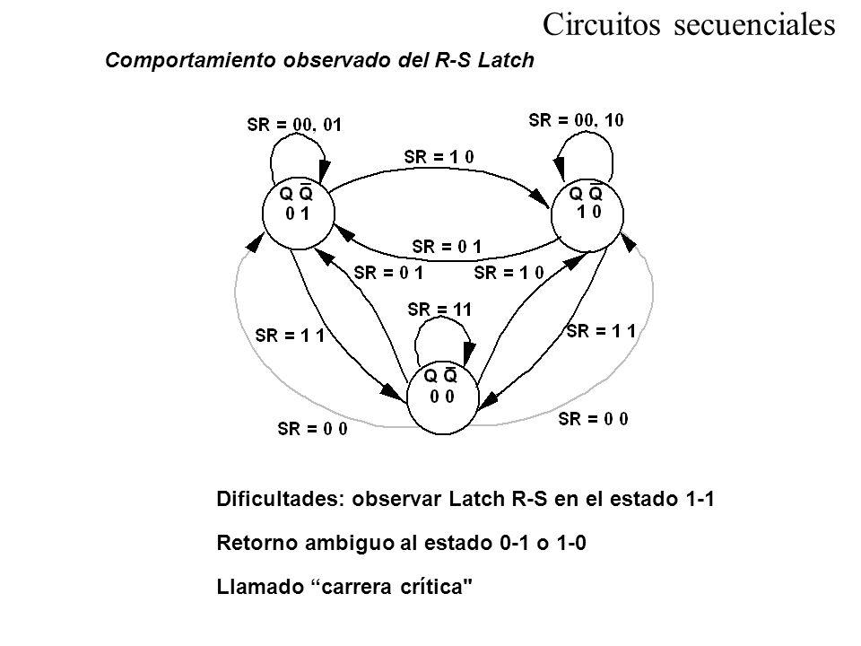 Comportamiento observado del R-S Latch Dificultades: observar Latch R-S en el estado 1-1 Retorno ambiguo al estado 0-1 o 1-0 Llamado carrera crítica