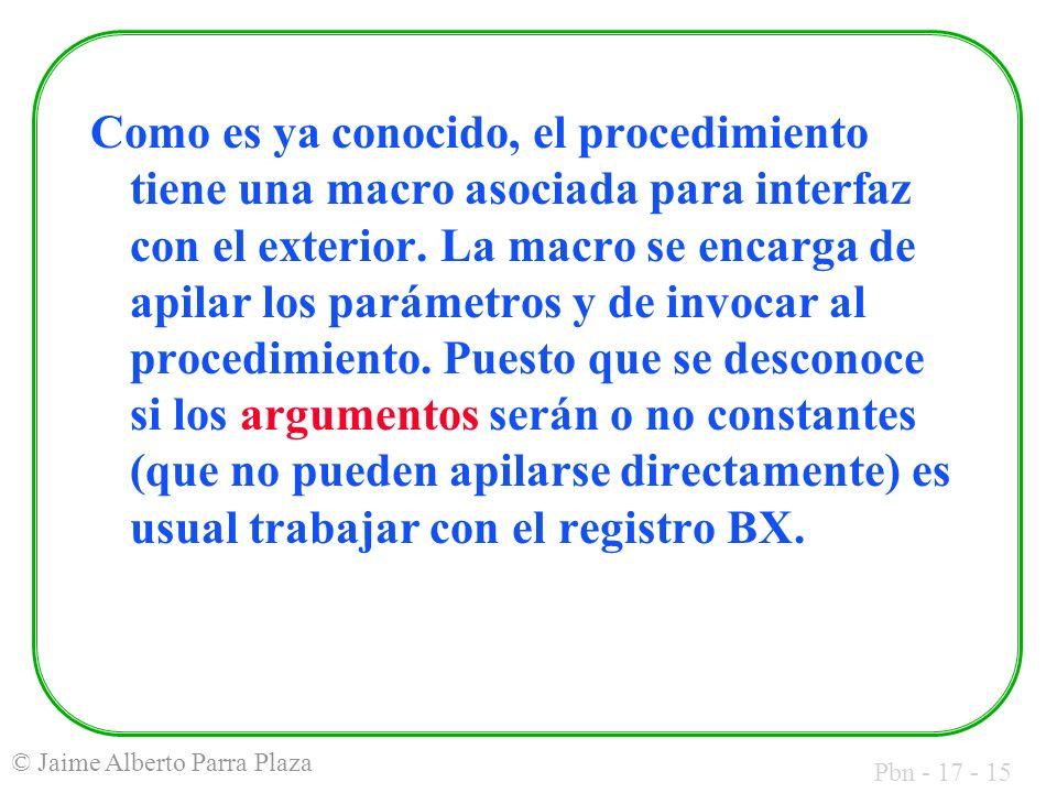 Pbn - 17 - 15 © Jaime Alberto Parra Plaza Como es ya conocido, el procedimiento tiene una macro asociada para interfaz con el exterior.