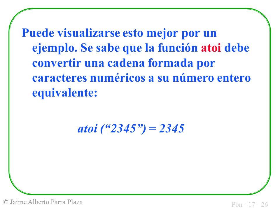 Pbn - 17 - 26 © Jaime Alberto Parra Plaza Puede visualizarse esto mejor por un ejemplo. Se sabe que la función atoi debe convertir una cadena formada
