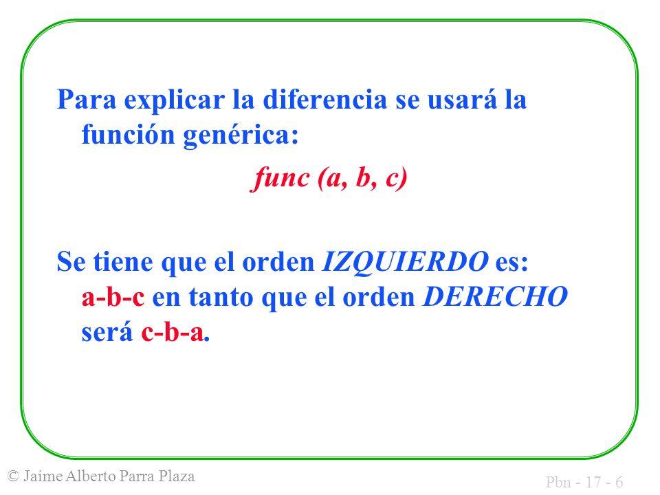 Pbn - 17 - 6 © Jaime Alberto Parra Plaza Para explicar la diferencia se usará la función genérica: func (a, b, c) Se tiene que el orden IZQUIERDO es: a-b-c en tanto que el orden DERECHO será c-b-a.