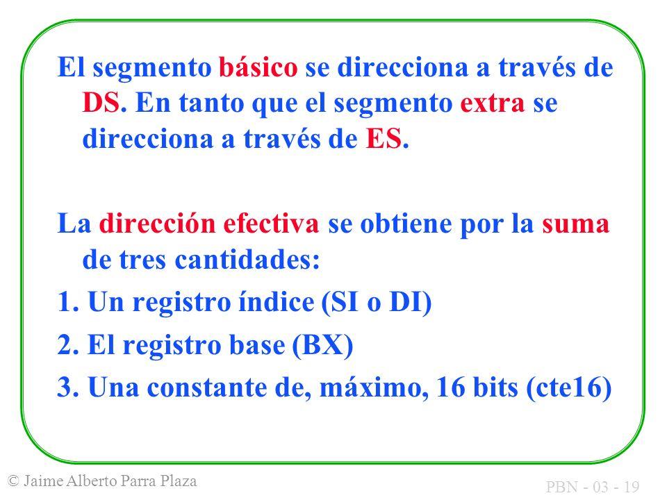 PBN - 03 - 19 © Jaime Alberto Parra Plaza El segmento básico se direcciona a través de DS. En tanto que el segmento extra se direcciona a través de ES