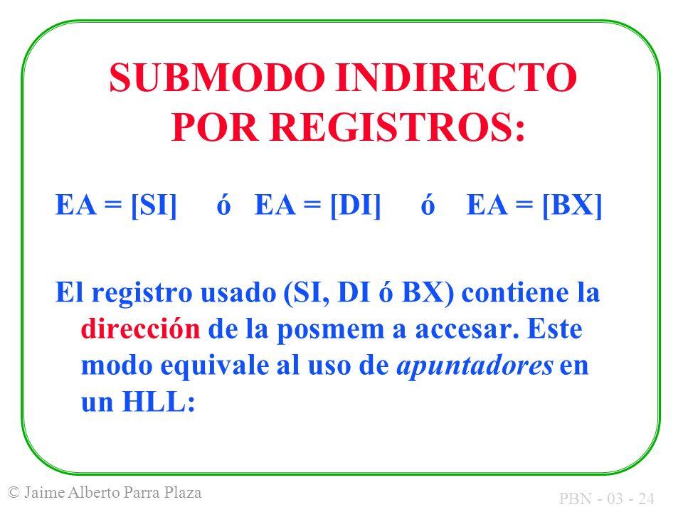 PBN - 03 - 24 © Jaime Alberto Parra Plaza SUBMODO INDIRECTO POR REGISTROS: EA = [SI] ó EA = [DI] ó EA = [BX] El registro usado (SI, DI ó BX) contiene